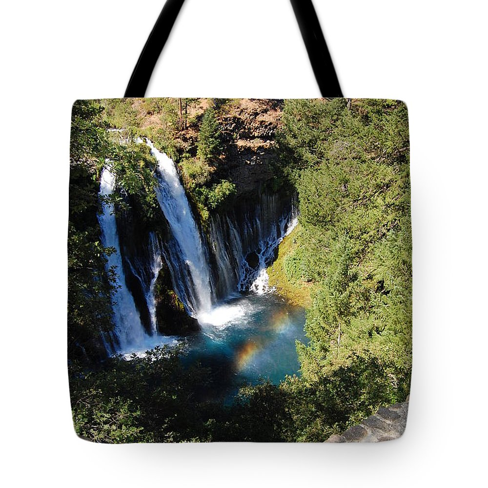 Mcarthur-burney Falls Memorial State Park Tote Bag featuring the photograph Waterfall And Rainbow 2 by Debra Thompson