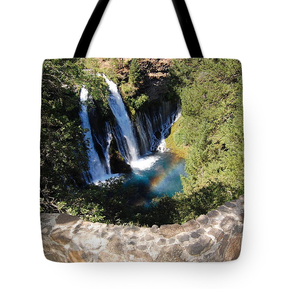 Mcarthur-burney Falls Memorial State Park Tote Bag featuring the photograph Waterfall And Rainbow 3 by Debra Thompson