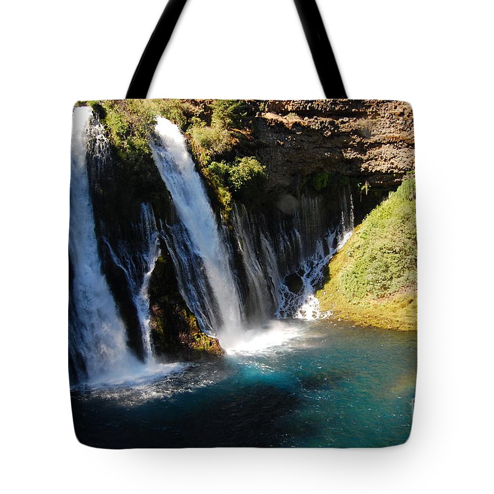 Mcarthur-burney Falls Memorial State Park Tote Bag featuring the photograph Waterfall And Rainbow 4 by Debra Thompson