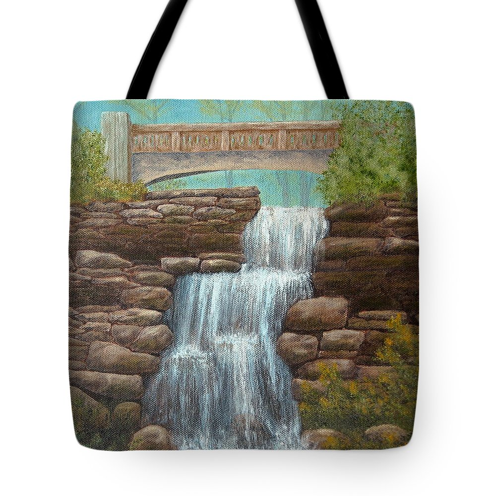 Pamela Allegretto Franz Tote Bag featuring the painting Waterfall At East Hampton by Pamela Allegretto