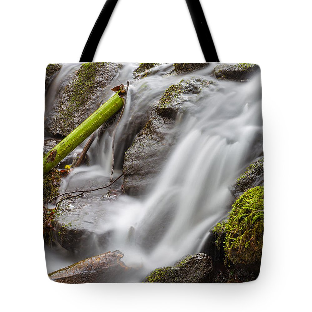 Dublin Tote Bag featuring the photograph Waterfall Close Up In Marlay Park by Semmick Photo