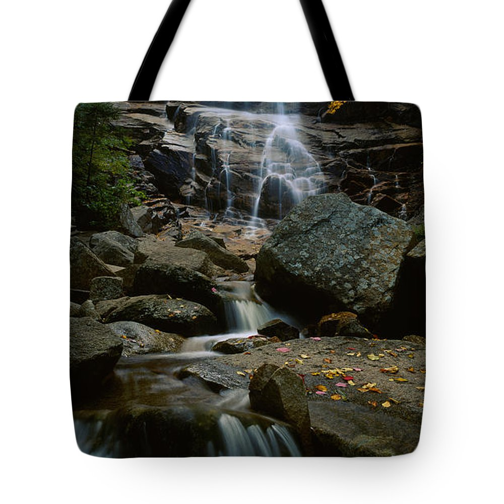 Photography Tote Bag featuring the photograph Waterfall In A Forest, Arethusa Falls by Panoramic Images