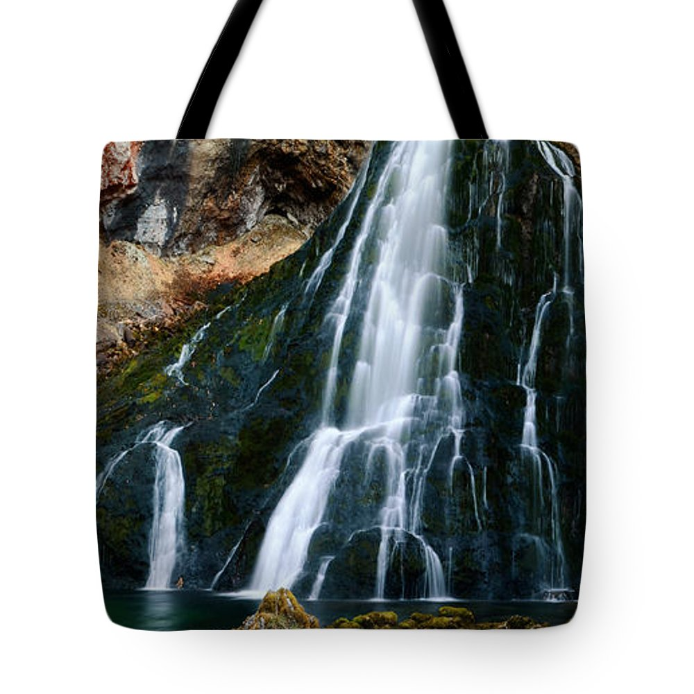Panorama Tote Bag featuring the photograph Waterfall In Austria Panorama by Sabine Jacobs