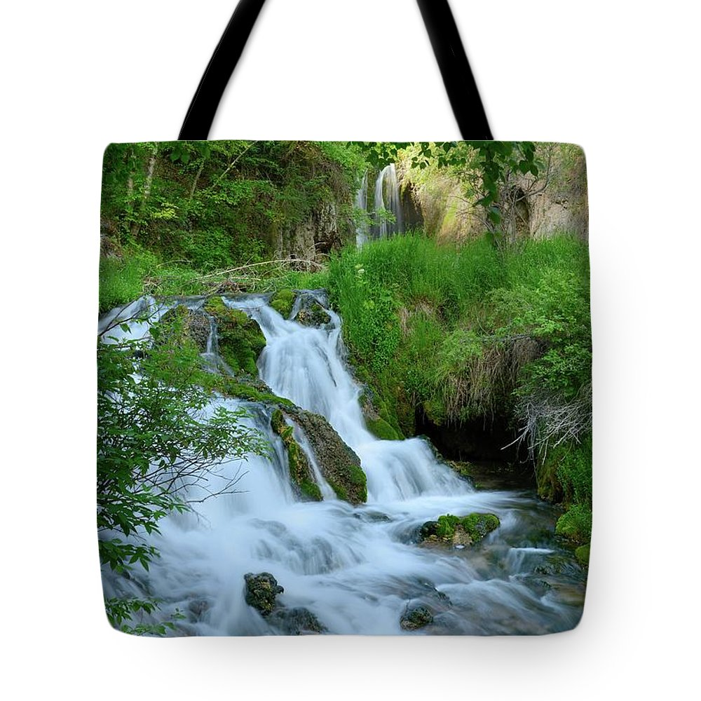 Scenics Tote Bag featuring the photograph Waterfall In Spearfish Cayon South by Groveb
