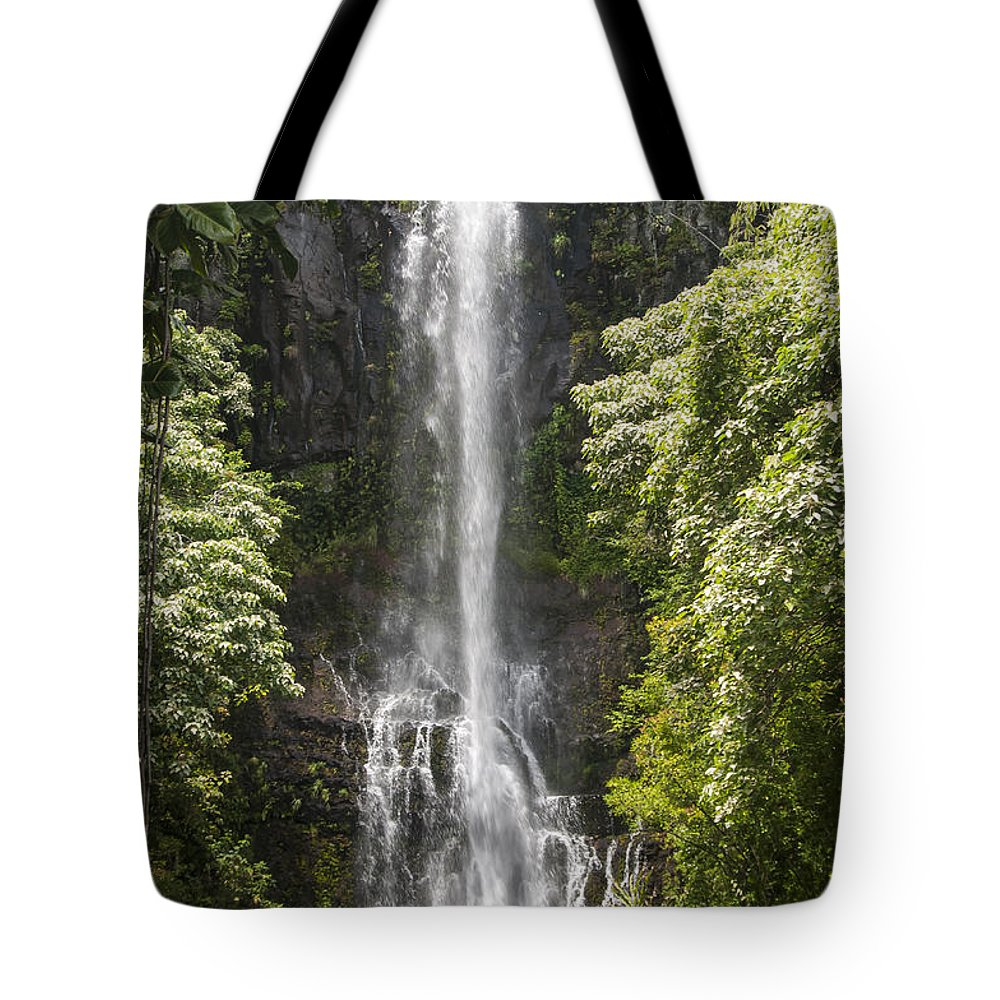 Wailua Falls Road To Hana Maui Hawaii Waterfall Waterfalls Water Landscape Landscapes Tree Trees Vine Vines Fern Ferns Nature Waterscape Waterscapes Tote Bag featuring the photograph Waterfall On The Road To Hana by Bob Phillips
