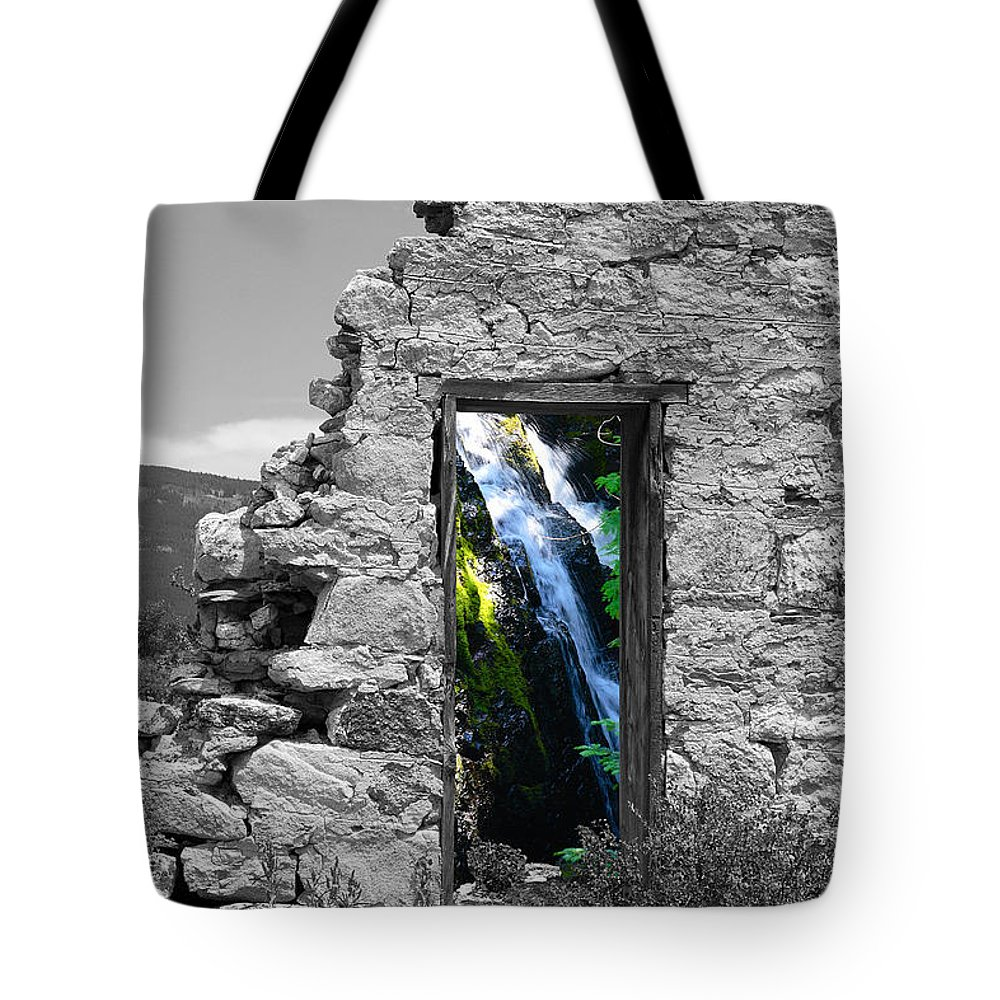 Montages Tote Bag featuring the photograph Waterfall Through The Magic Door by Greg Wells