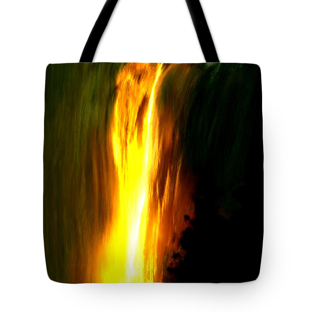 Waterfall Tote Bag featuring the painting Waterfalls By Light by Bruce Nutting