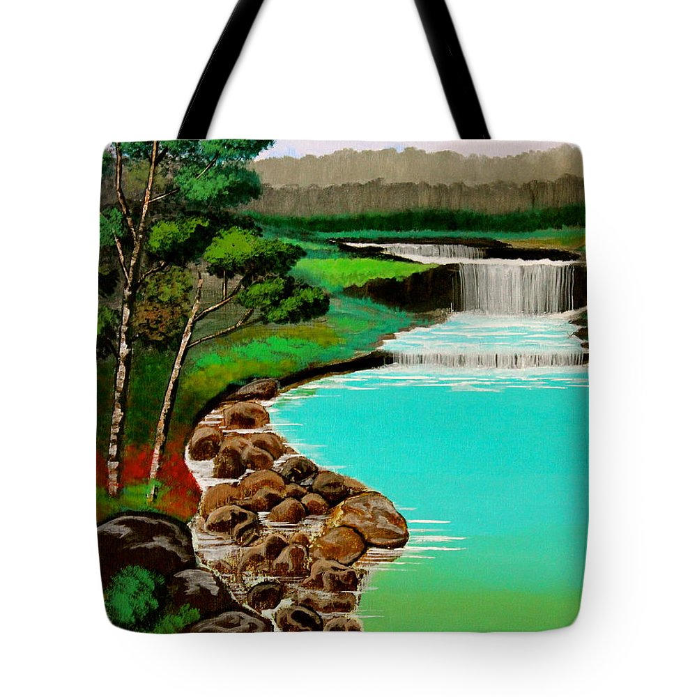 Waterfalls Tote Bag featuring the painting Waterfalls by Cyril Maza