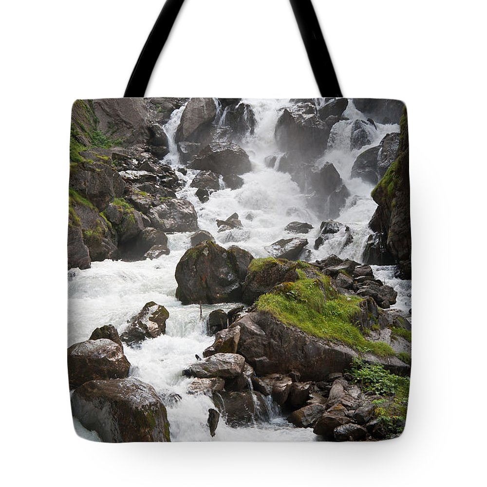 Beauty Tote Bag featuring the photograph waterfalls in Pre Saint Didier by Antonio Scarpi