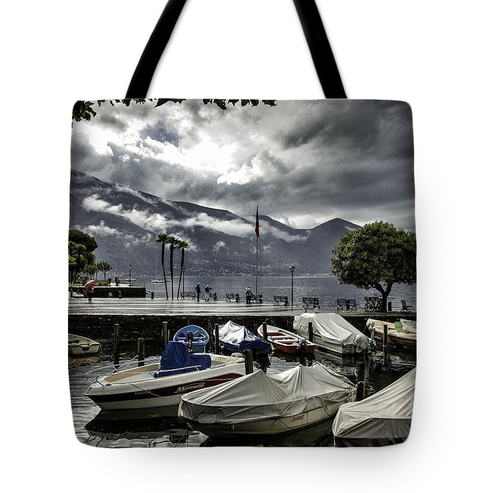 Historic Tote Bag featuring the photograph Waterfront At Ascona by Timothy Hacker