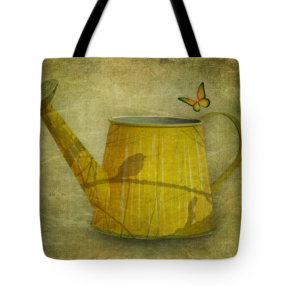 Art Tote Bag featuring the photograph Watering Can With Texture by Tom Mc Nemar