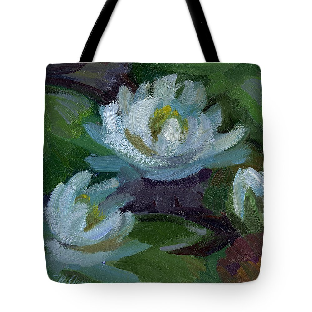 Waterlilies Tote Bag featuring the painting Waterlilies At Martha Lake 2 by Diane McClary