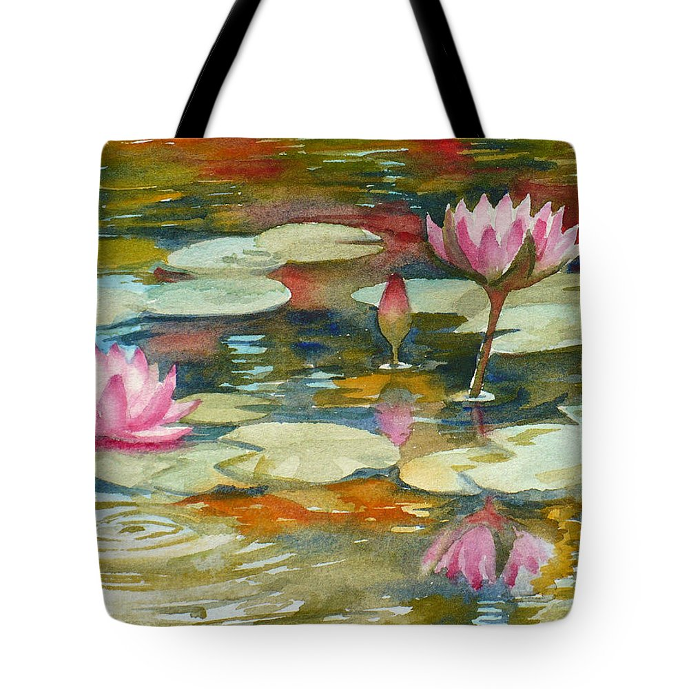 Waterlilies Tote Bag featuring the painting Waterlily Pond by Janet Zeh