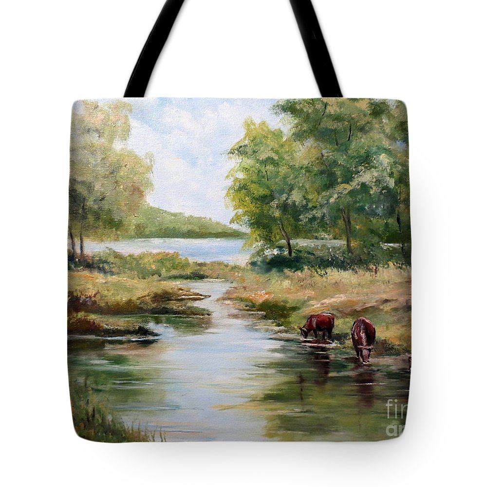 Landscape Tote Bag featuring the painting Waterloo by Lee Piper