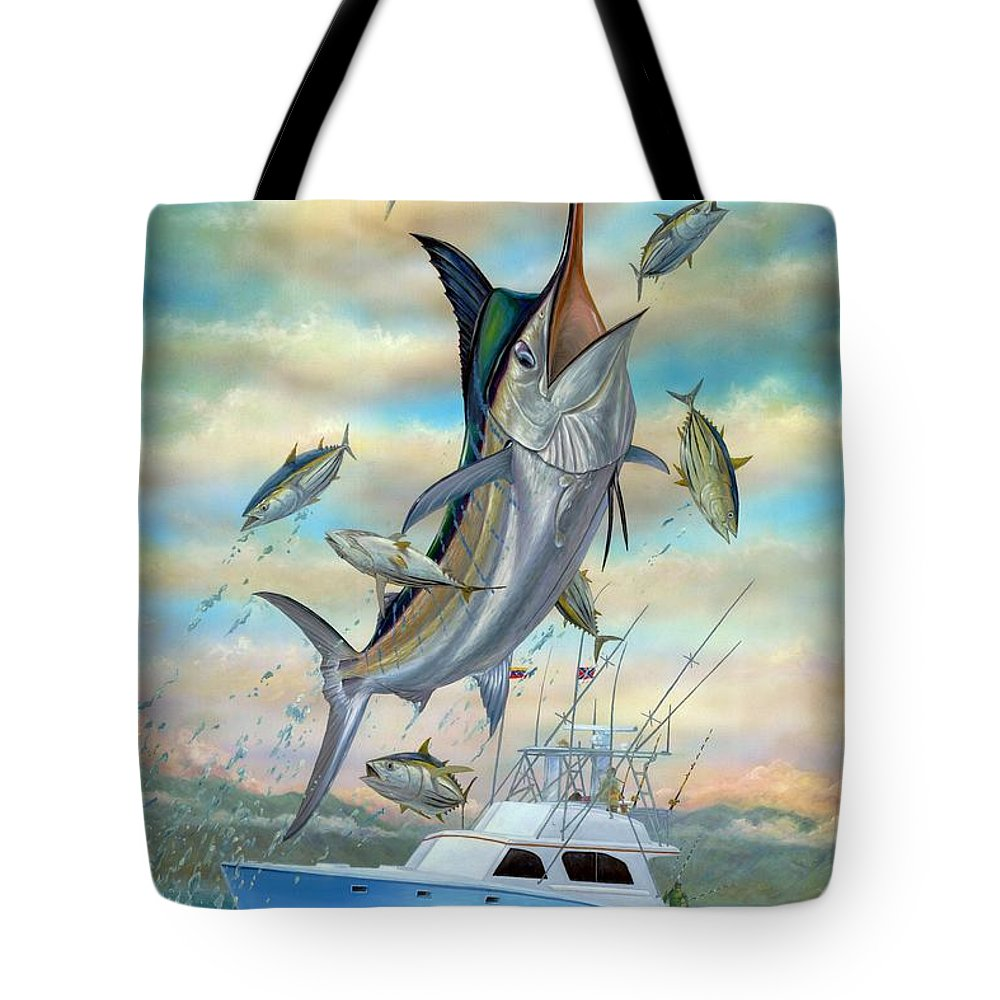 Blue Marlin Tote Bag featuring the painting Waterman by Terry Fox