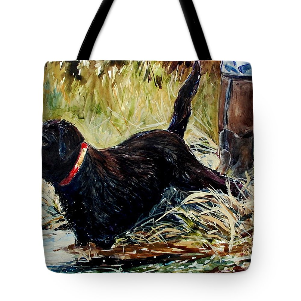 Chocolate Labrador Retreiver Tote Bag featuring the painting Water's Edge by Molly Poole