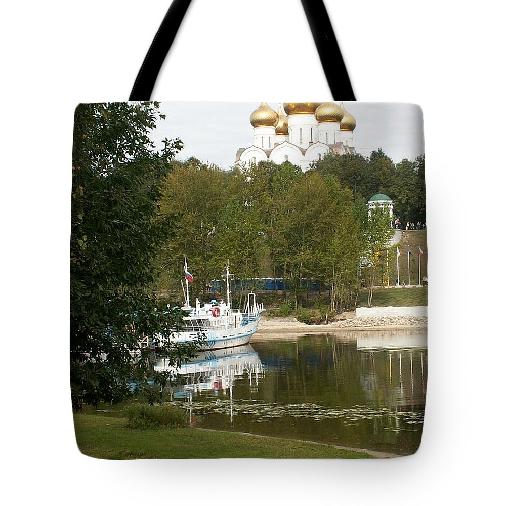 River Tote Bag featuring the photograph Waterside Of River In Jaroslavl by Evgeny Pisarev