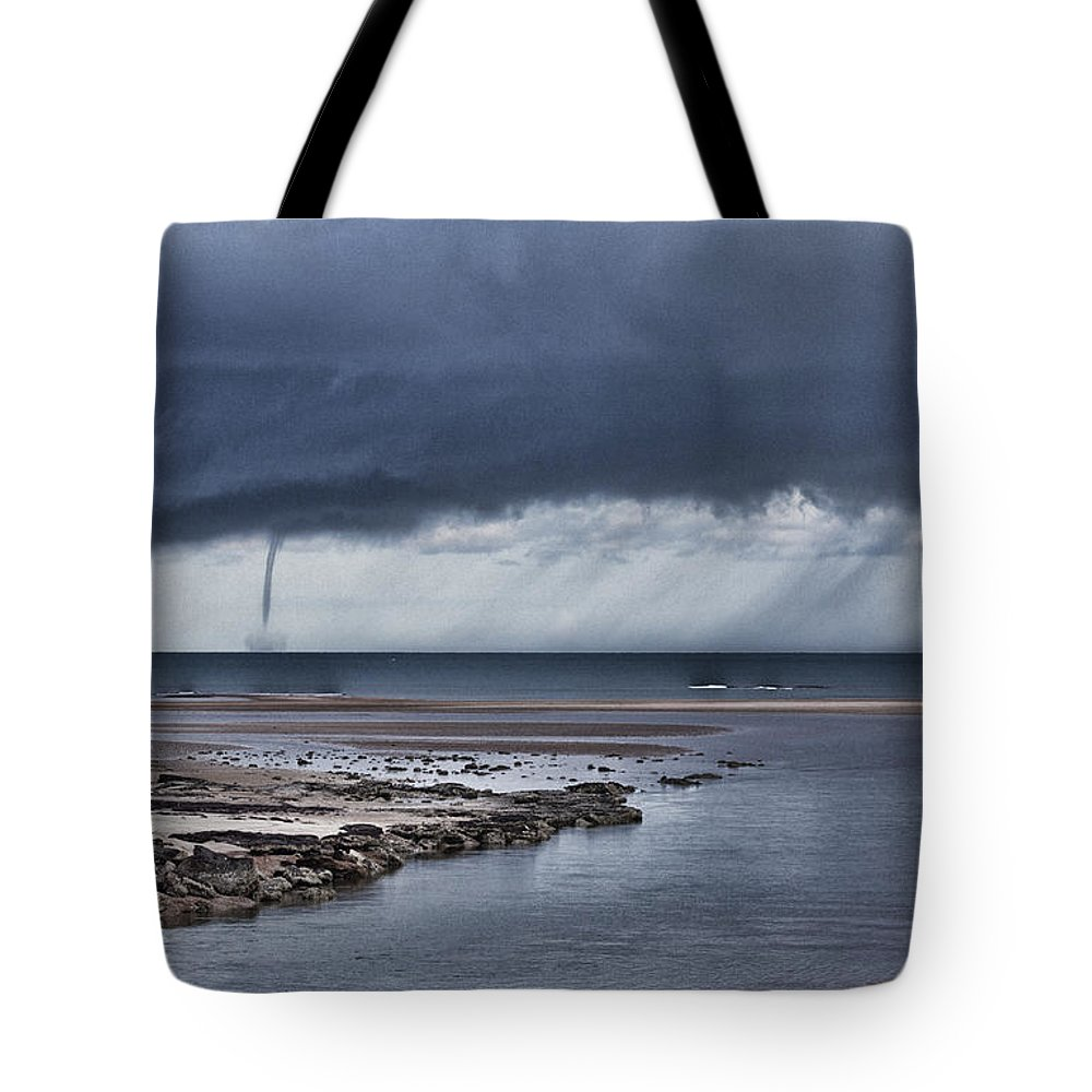 Waterspout Tote Bag featuring the photograph Waterspout Over The Ocean by Douglas Barnard