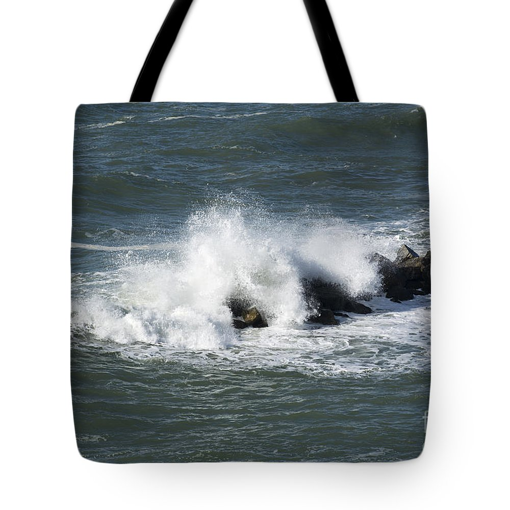 Wave Tote Bag featuring the photograph Wave On The Rocks by Mats Silvan