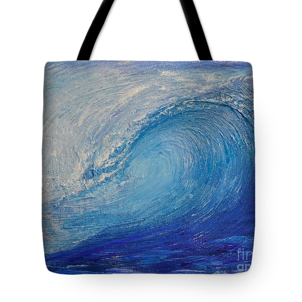 Wave Tote Bag featuring the painting Wave Study by Shelley Myers