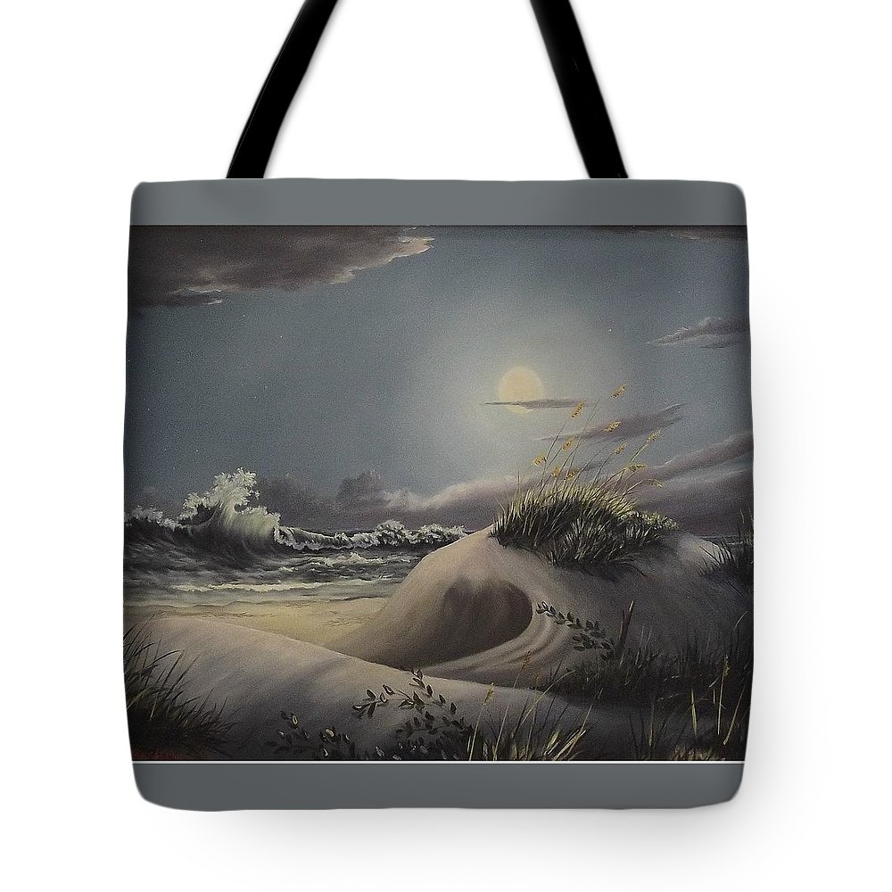 Landscape Tote Bag featuring the painting Waves And Moonlight by Wanda Dansereau
