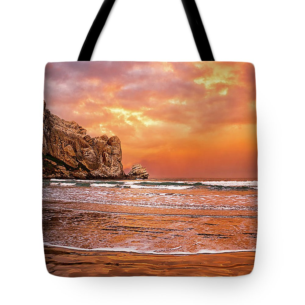 Water's Edge Tote Bag featuring the photograph Waves Breaking On Beach At Sunrise by Alice Cahill