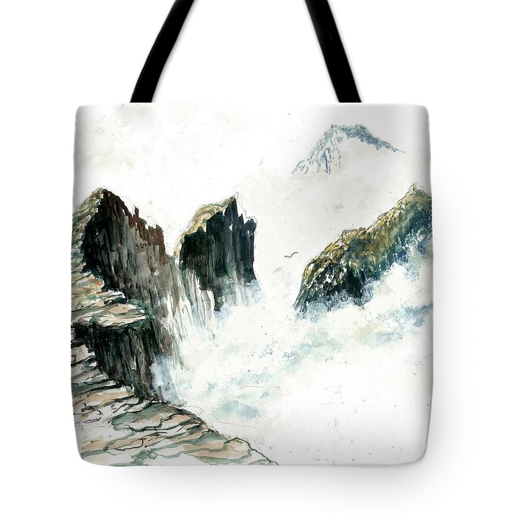 Waves On The Rocks Tote Bag featuring the painting Waves On The Rocks by Steven Schultz