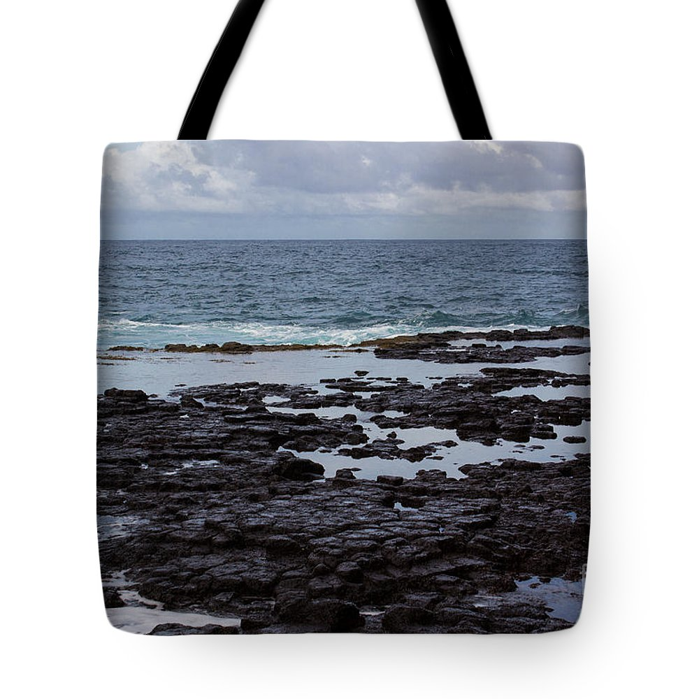 Kauai Tote Bag featuring the photograph Waves Over Rocks by Suzanne Luft