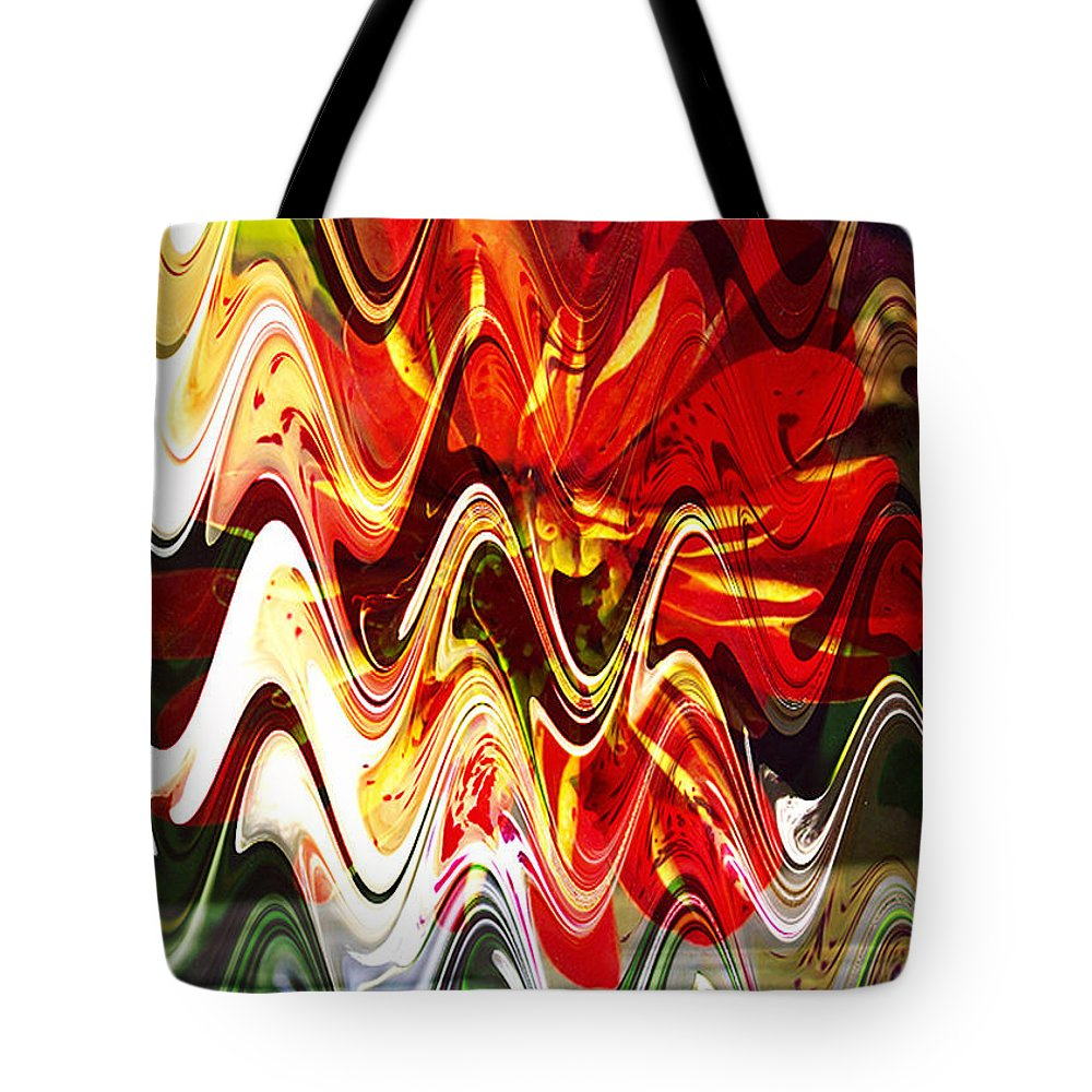 Digital Image Tote Bag featuring the digital art Waves by Yael VanGruber