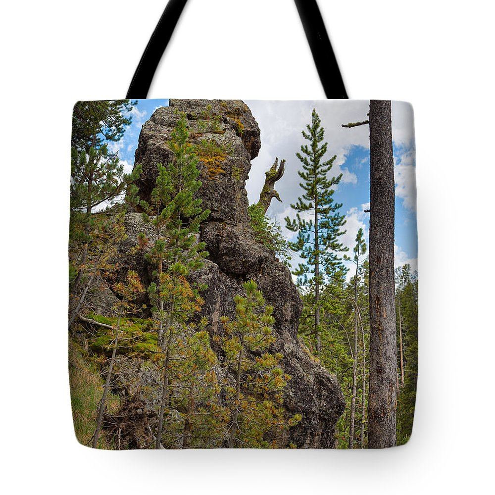 Sky Tote Bag featuring the photograph Waving Rock At Yellowstone by John M Bailey