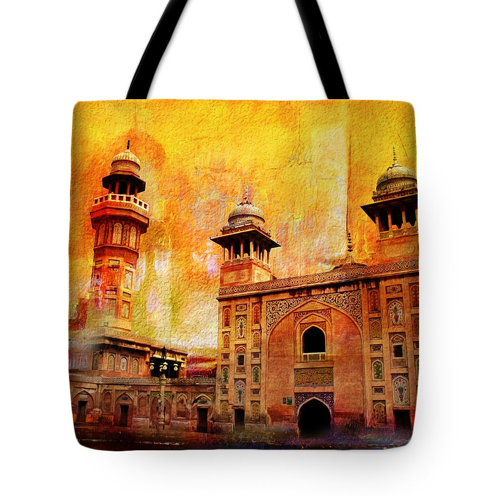 Pakistan Tote Bag featuring the painting Wazir Khan Mosque by Catf