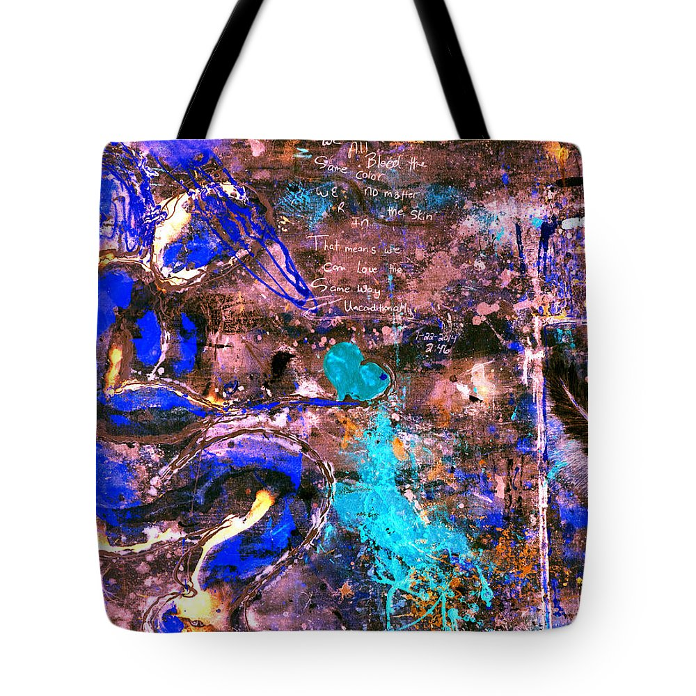 Angel Tote Bag featuring the painting We All Bleed The Same Color Iv by Giorgio Tuscani