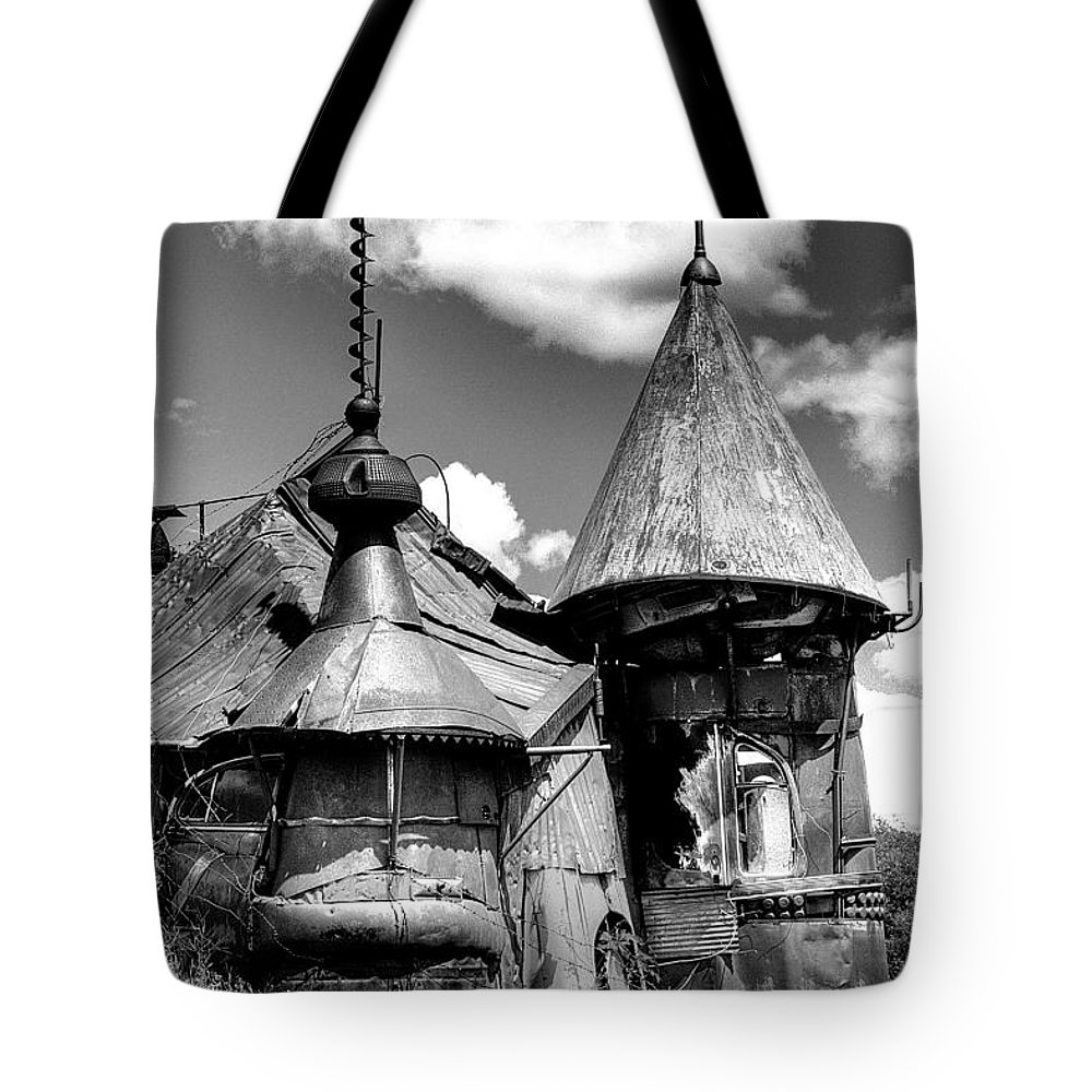 Junk Castle Tote Bag featuring the photograph We Are Not In Kansas Anymore II Bw by David Patterson