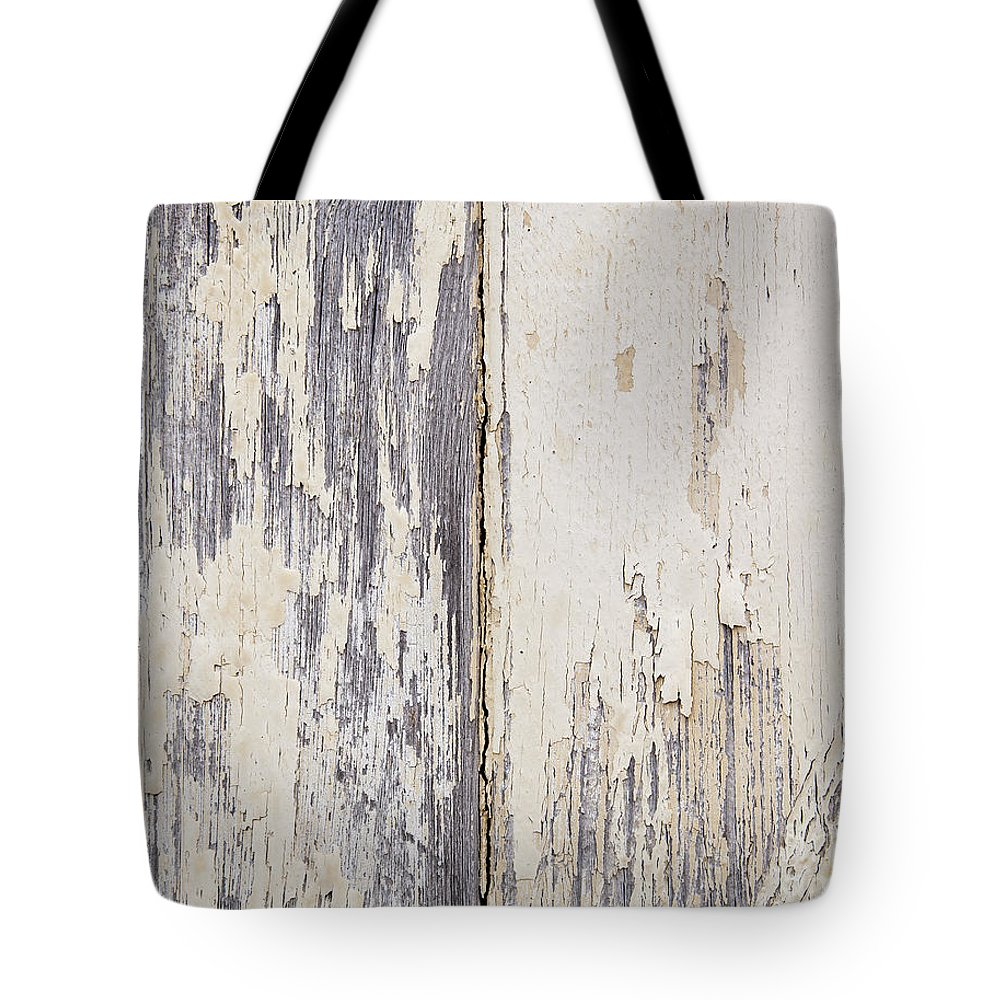 Abstract Tote Bag featuring the photograph Weathered Paint On Wood by Tim Hester