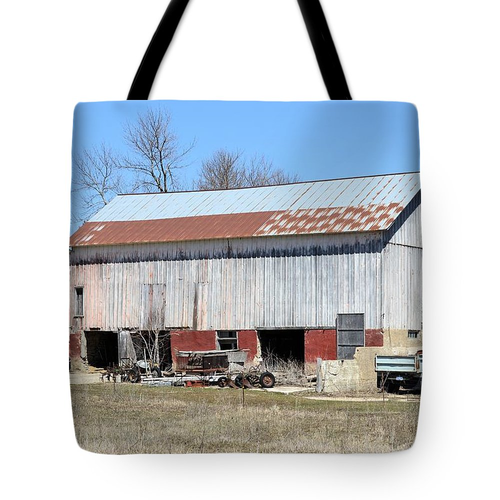 Barn Tote Bag featuring the photograph Weathered Storage by Bonfire Photography