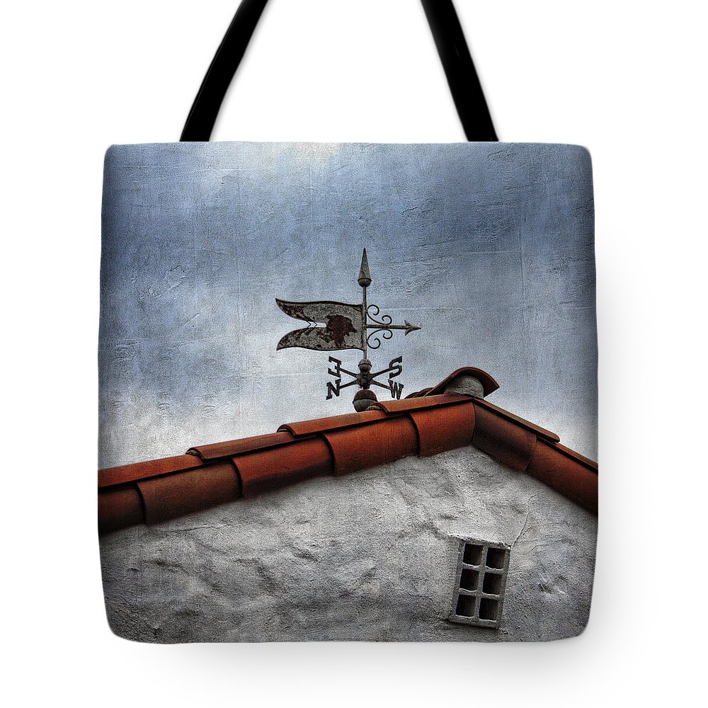 Weathervane Tote Bag featuring the photograph Weathered Weathervane by Carol Leigh
