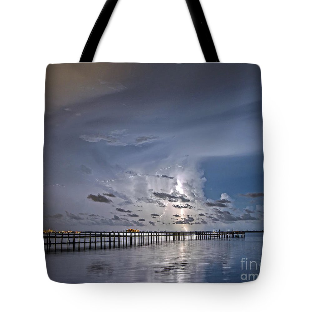Pier Tote Bag featuring the photograph Weaver Pier Illuminated by Stephen Whalen