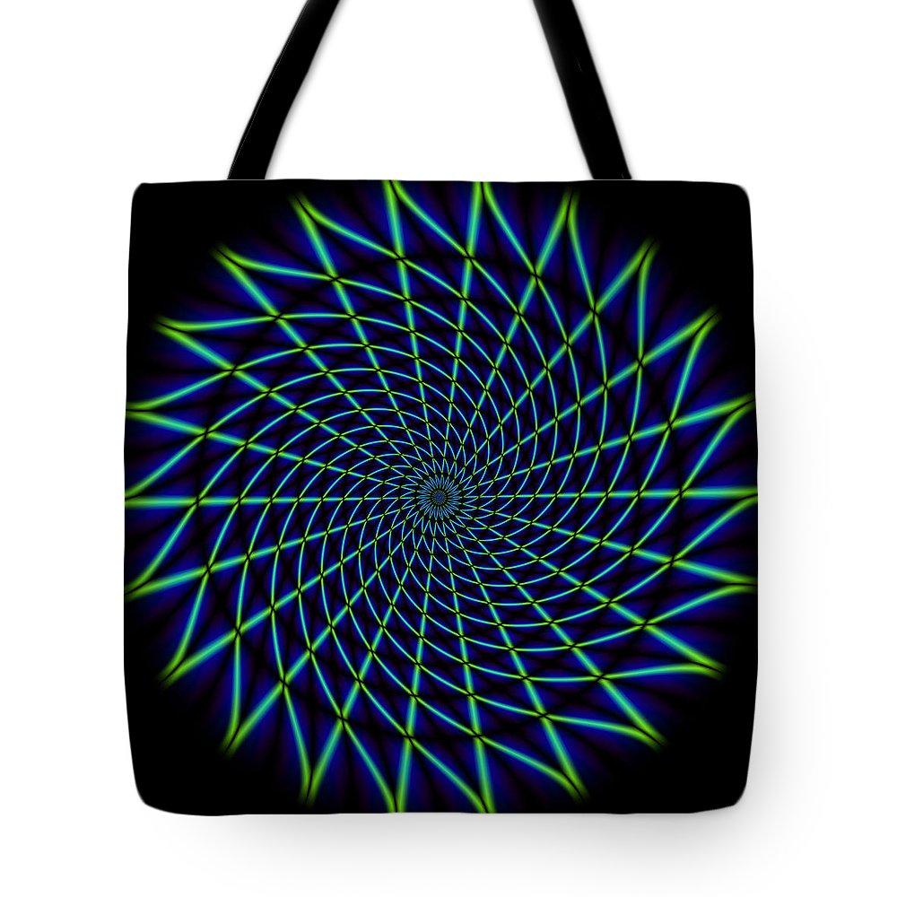 Mandala Tote Bag featuring the digital art Web Mandala by WB Johnston