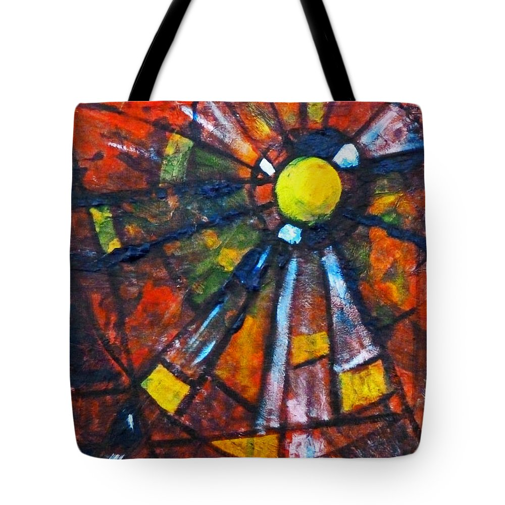 Red Abstract Painting Tote Bag featuring the mixed media Web by Nancy Merkle