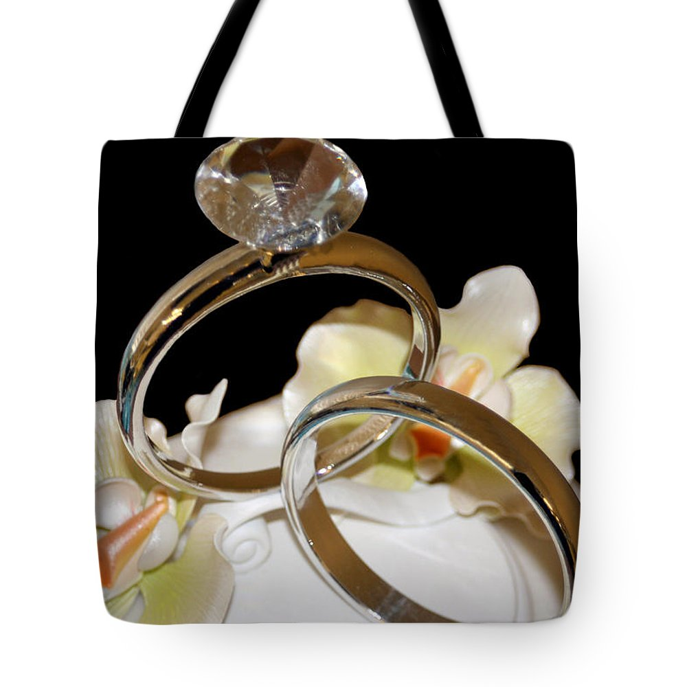 Wedding Tote Bag featuring the photograph Wedding Cake Rings Black by Lesa Fine