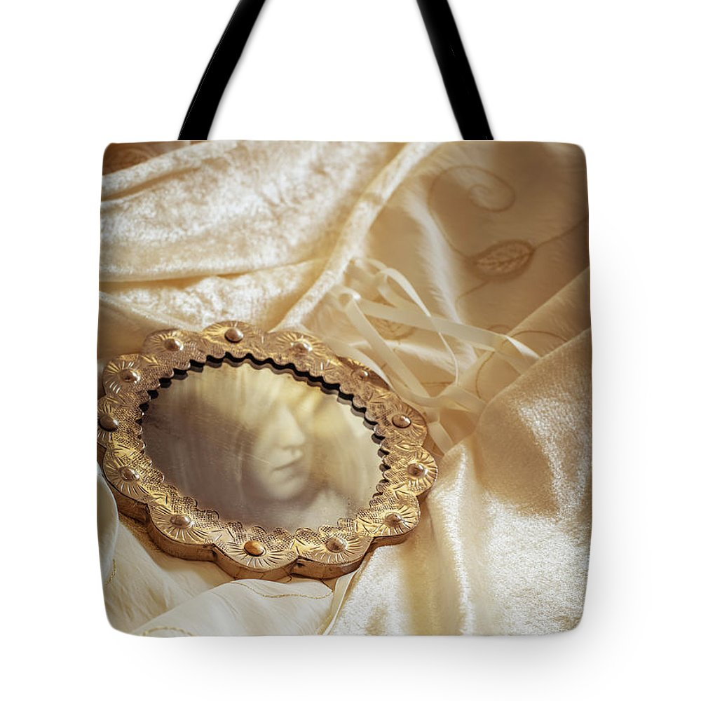 Wedding Tote Bag featuring the photograph Wedding Dress And Mirror by Amanda Elwell