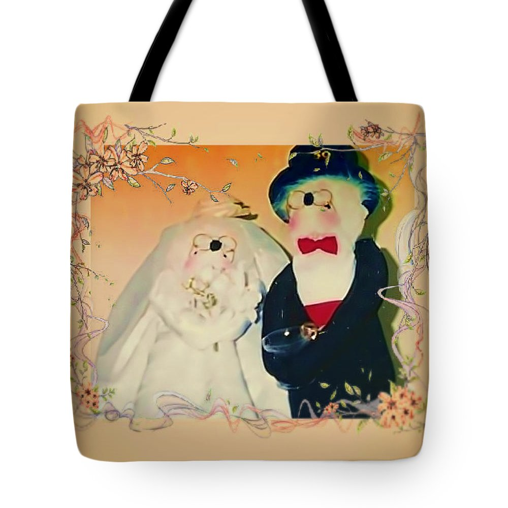 Mice Tote Bag featuring the mixed media Wedding Mice 2 by M and L Creations Craft Boutique