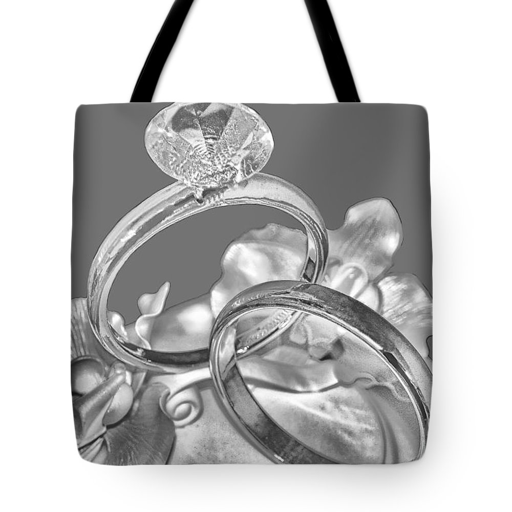 Wedding Tote Bag featuring the photograph Wedding Ring Cake Gray by Lesa Fine