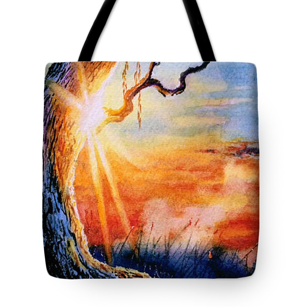 Sunrise Painting Tote Bag featuring the painting Weeping Willow Sighs by Hanne Lore Koehler
