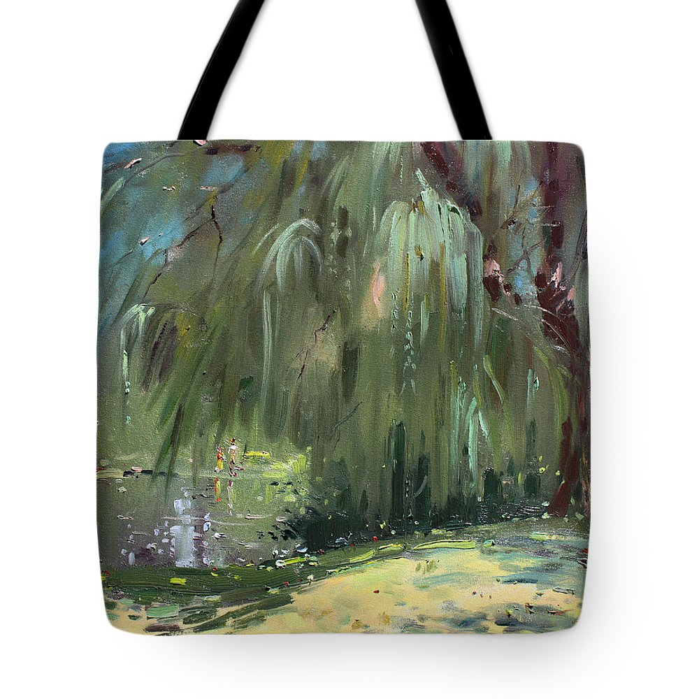Trees By The Lake Tote Bag featuring the painting Weeping Willow Tree by Ylli Haruni