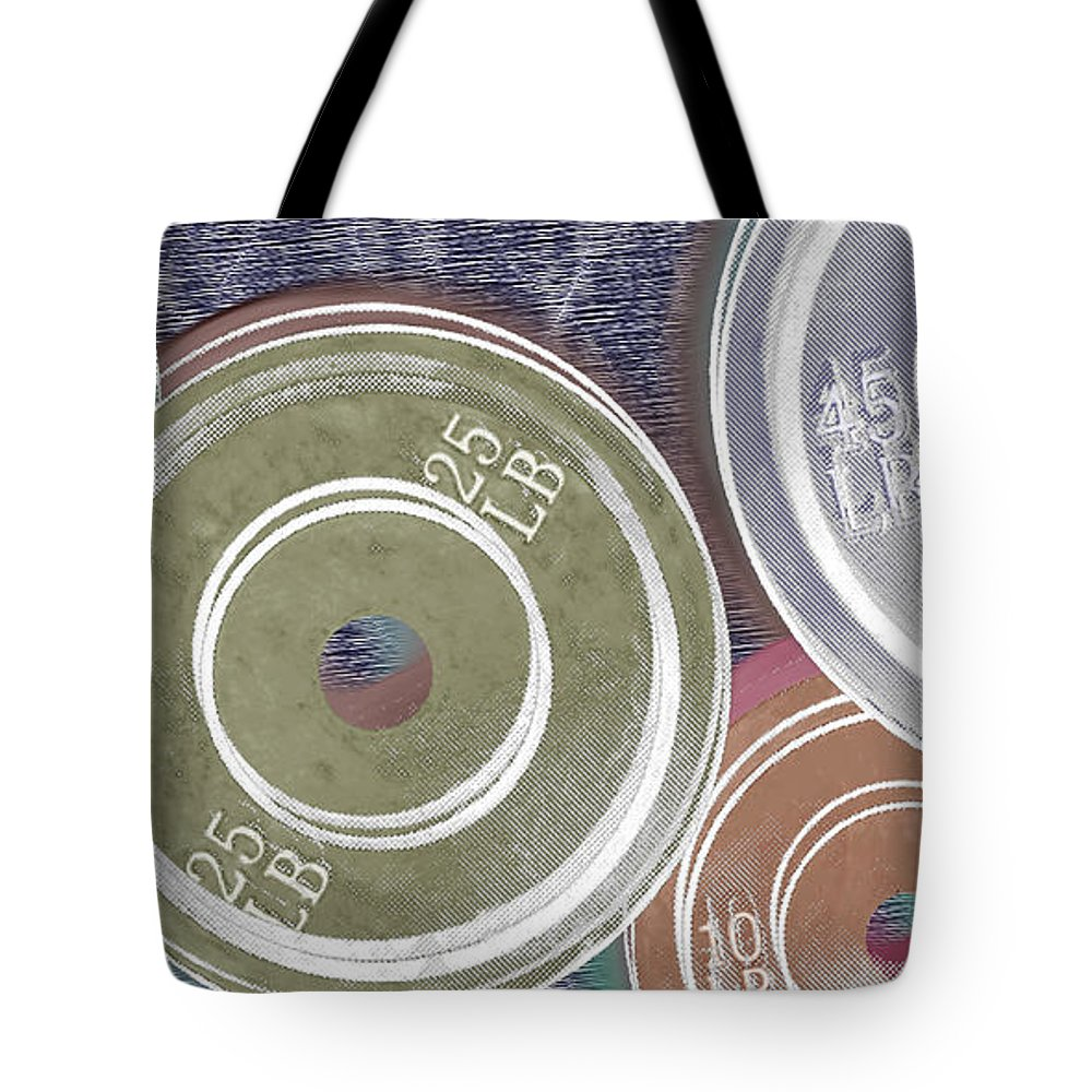 Weights Tote Bag featuring the painting Weight Plates by Tony Rubino