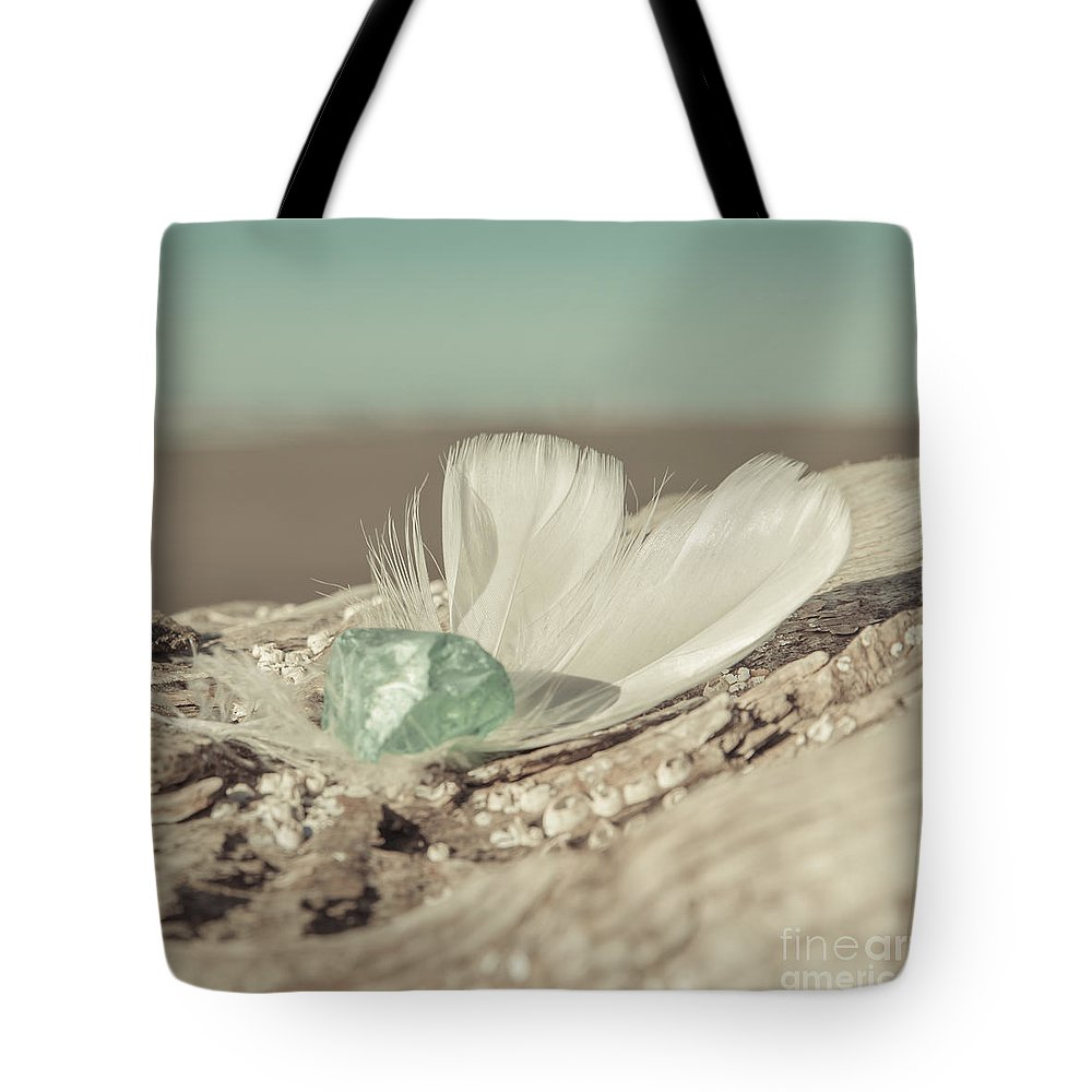 Sea Glass Feathers Photography Print Tote Bag featuring the photograph Weighted Feathers by Lucid Mood
