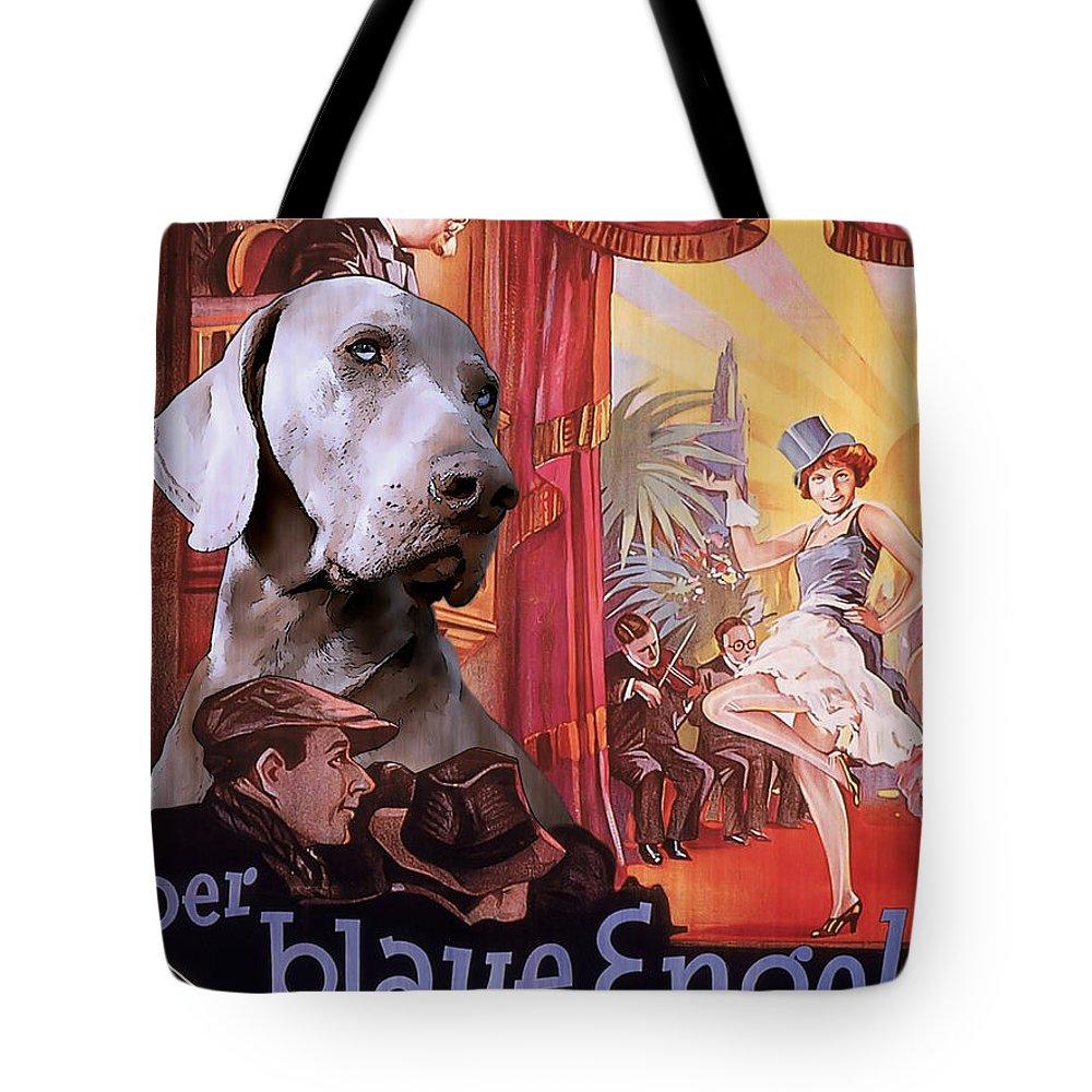 Weimaraner Tote Bag featuring the painting Weimaraner Art Canvas Print - Der Blaue Engel Movie Poster by Sandra Sij