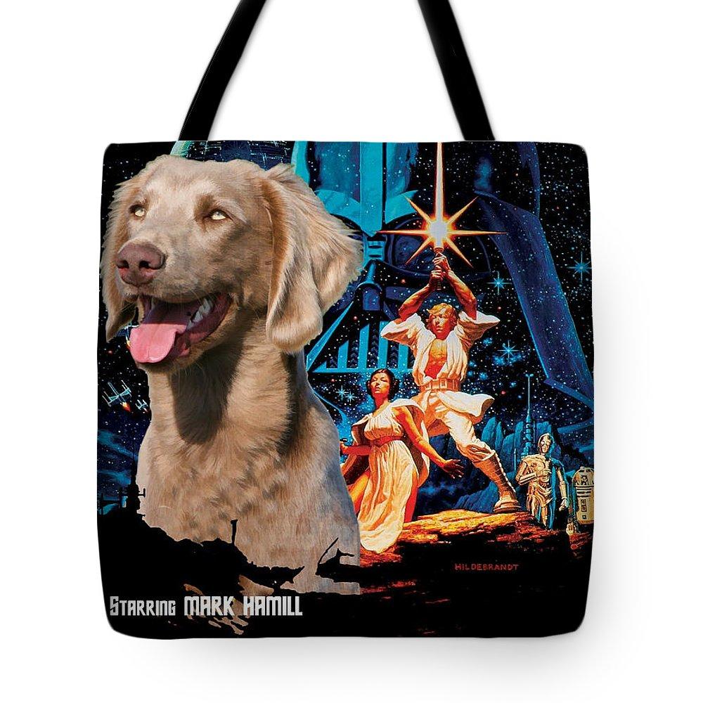 Weimaraner Tote Bag featuring the painting Weimaraner Art Canvas Print - Star Wars Movie Poster by Sandra Sij
