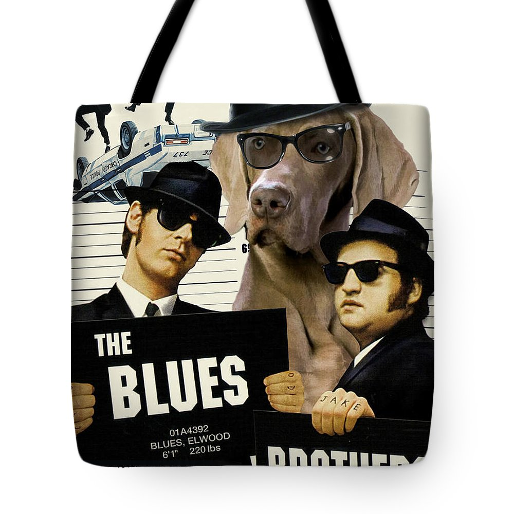 Weimaraner Tote Bag featuring the painting Weimaraner Art Canvas Print - The Blues Brothers Movie Poster by Sandra Sij